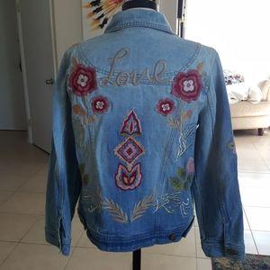 NWOT Embroidered Denim Jacket M